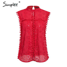 Load image into Gallery viewer, Elegant tank top women blouse Cotton embroidery red shirts