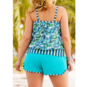 High Cut Swimdress Plus Size Tankini Swimsuits Floral print