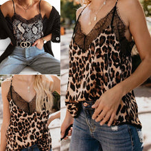 Load image into Gallery viewer, Womens Summer Sexy Casual V-Neck Sleeveless Button Leopard Print Lace Camisole