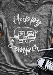 Women T Shirt Short Sleeve Happy Camping
