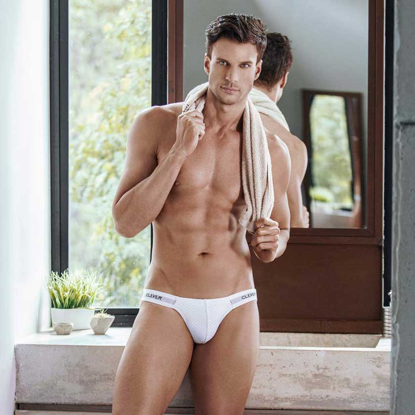 Male underwear model wearing Clever Underwear for Men available at MensUnderwear.io