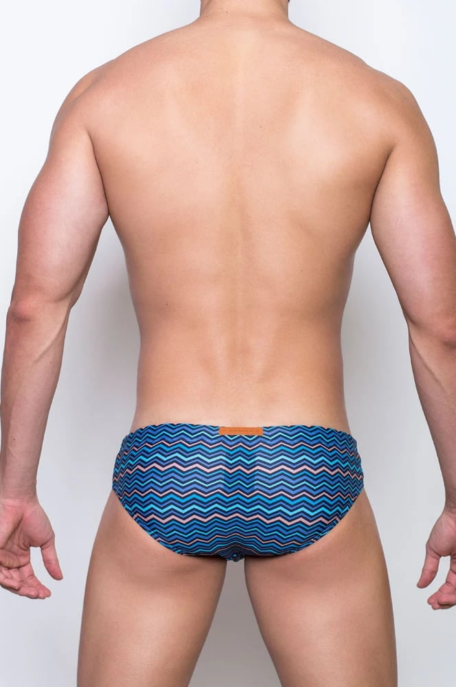 Male swimwear model wearing 2EROS Chevy Oceans Swim Brief available at MensUnderwear.io