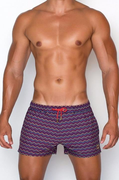 Male model wearing 2EROS Swim Shorts for men