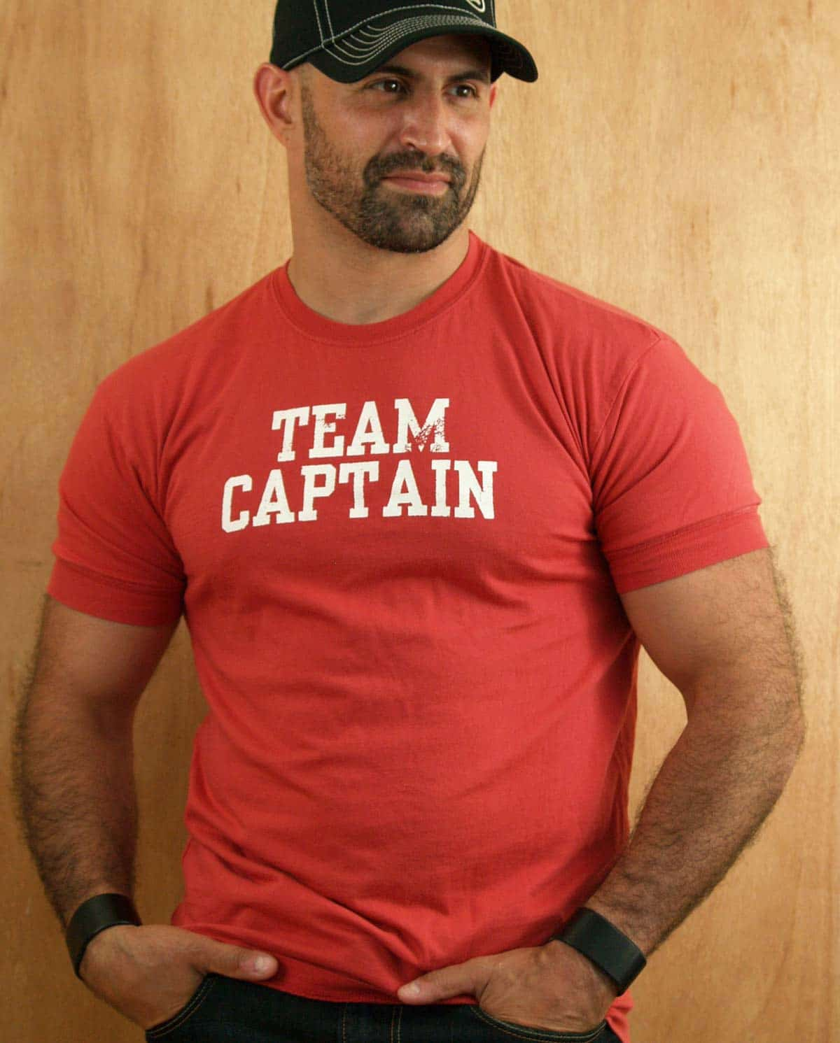 "Male model wearing Ajaxx63 ""Team Captain"" T-Shirt"