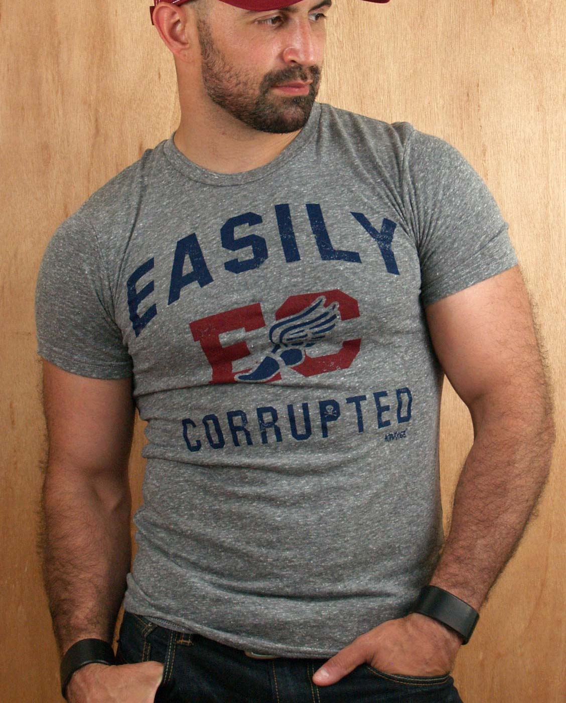 Male model wearing Ajaxx63 Easily Corrupted Men's T-shirt