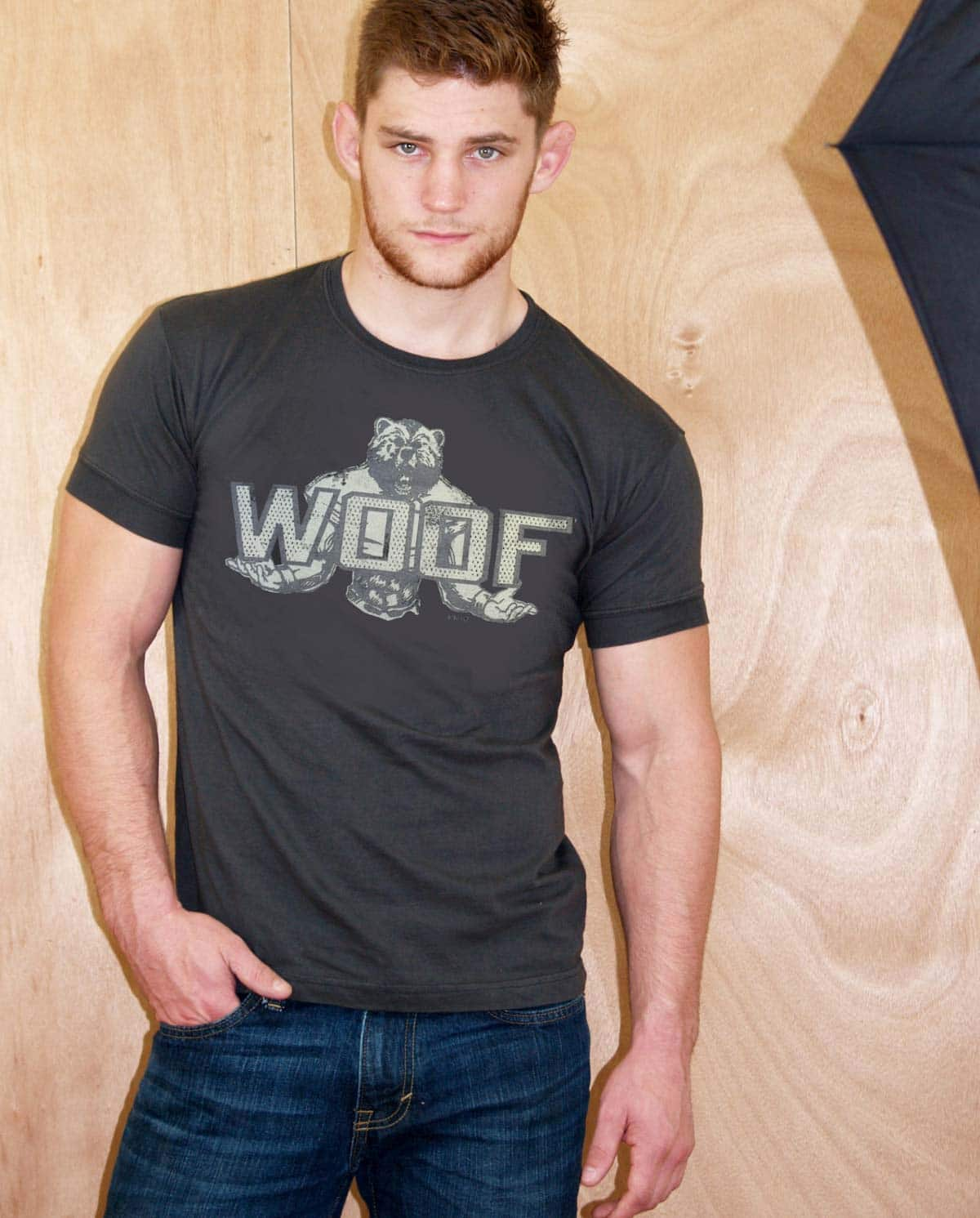male model wearing Ajaxx63 Woof Men's T-shirt