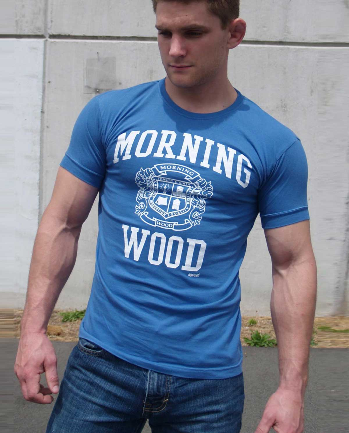 Male model wearing Ajaxx63 Morning Wood Men's T-Shirt available at MensUnderwear.io