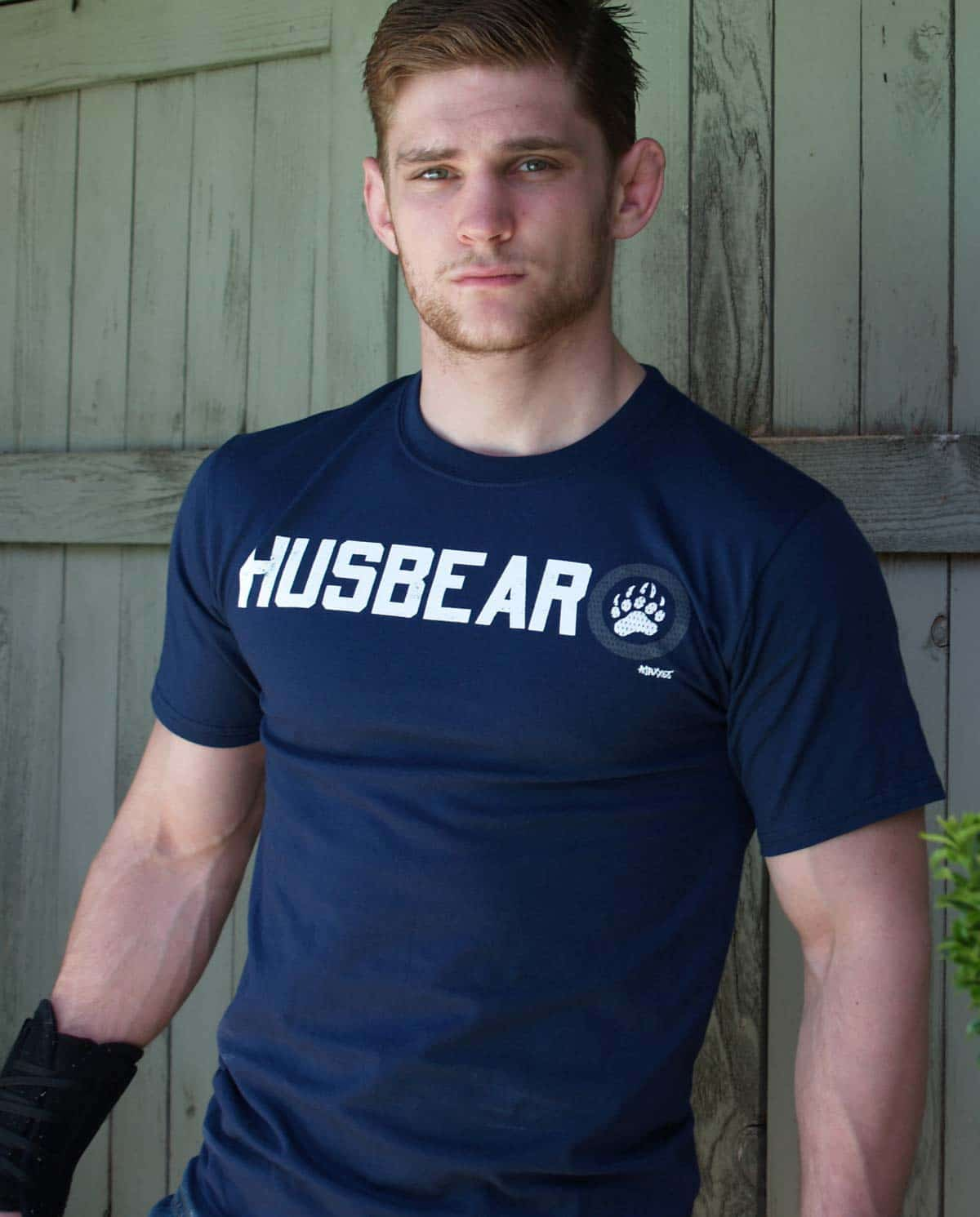 Male model wearing Ajaxx63 Husbear Men's T-Shirt