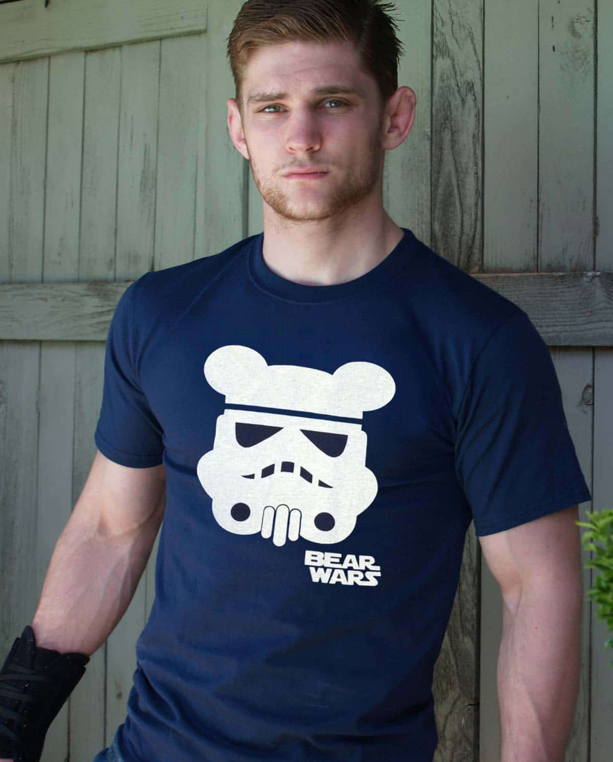Male model wearing Ajaxx63 Bear Wars Men's T-Shirt