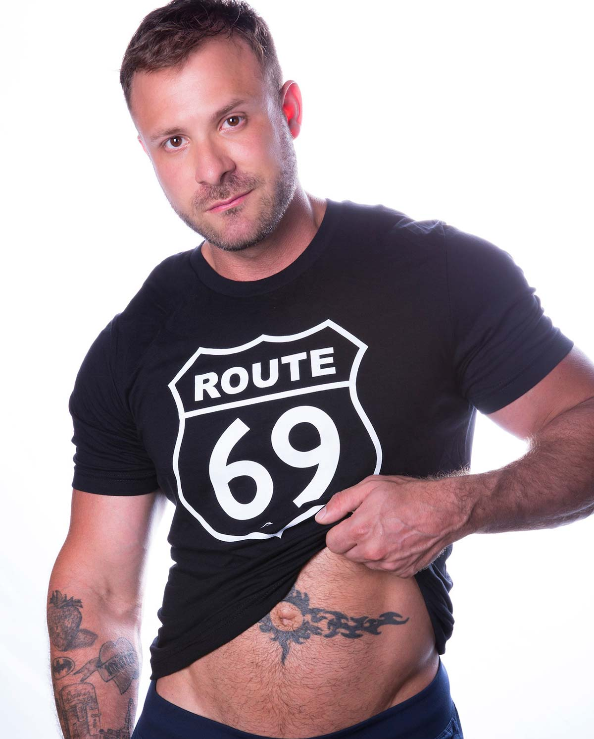Male model wearing Ajaxx63 Falcon Studios Route 69 Men's T-shirt
