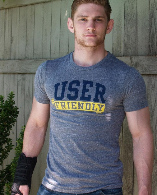 Male model wearing Ajaxx63 User Friendly Men's T-shirt available at MensUnderwear.io