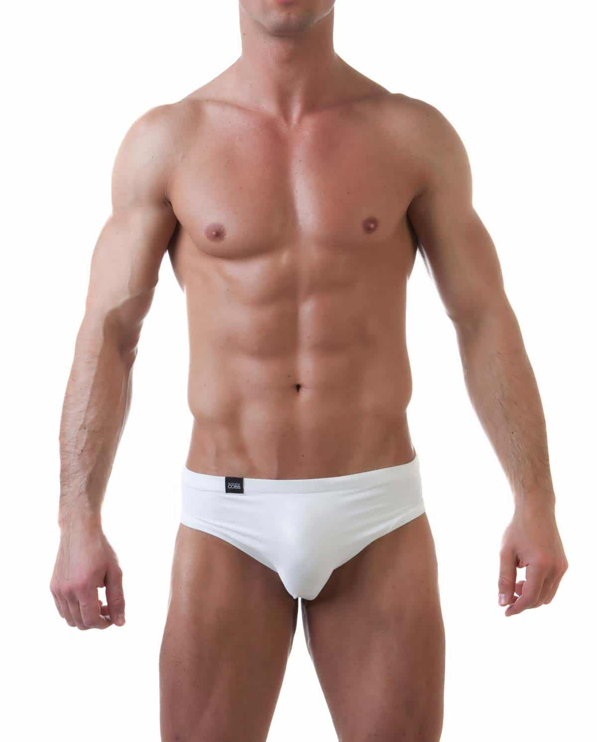 Male underwear model wearing Alexander Cobb Précieux White Men's Brief - Front View