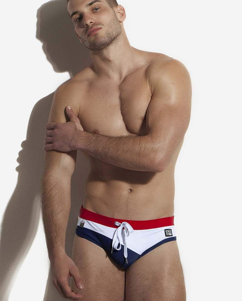 Male model wearing Alexander COBB Adriatic Sea Swim Brief