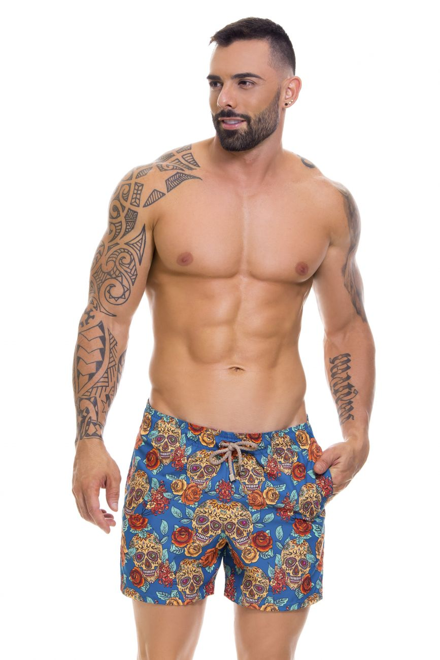 Male underwear model wearing Arrecife 0664 Rivera Swim Trunks available at www.MensUnderwear.io