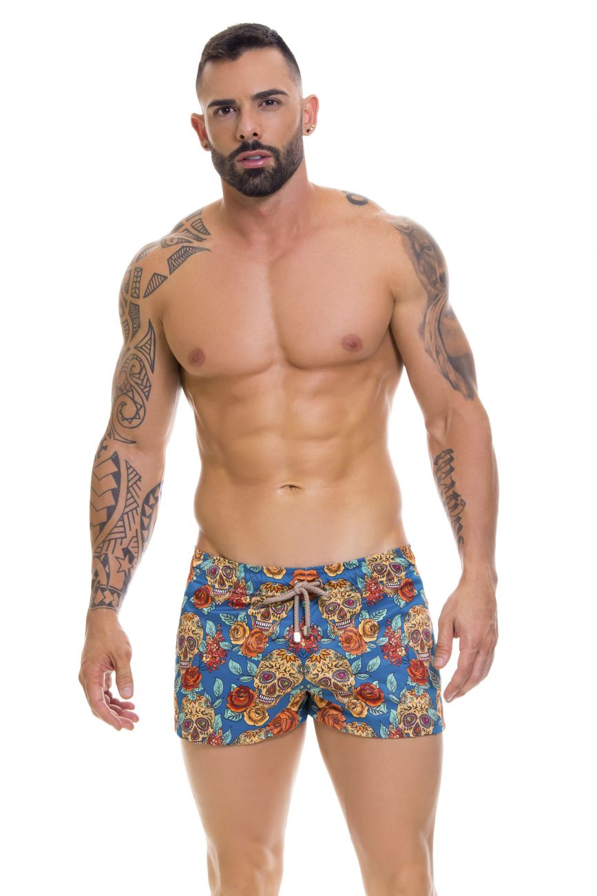 Male underwear model wearing Arrecife 0665 Rivera Swim Trunks available at www.MensUnderwear.io