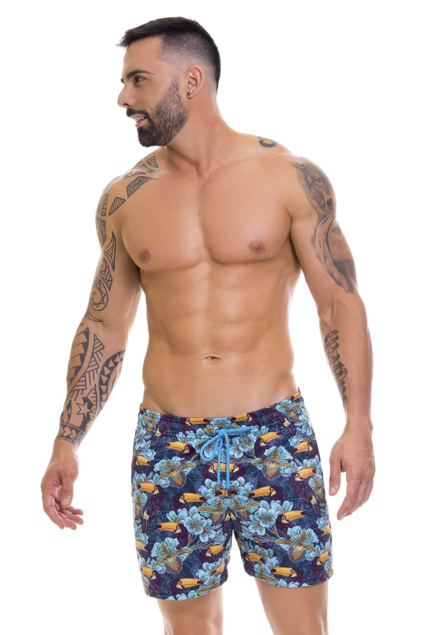 Male underwear model wearing Arrecife 0668 Tropical Swim Trunks available at www.MensUnderwear.io