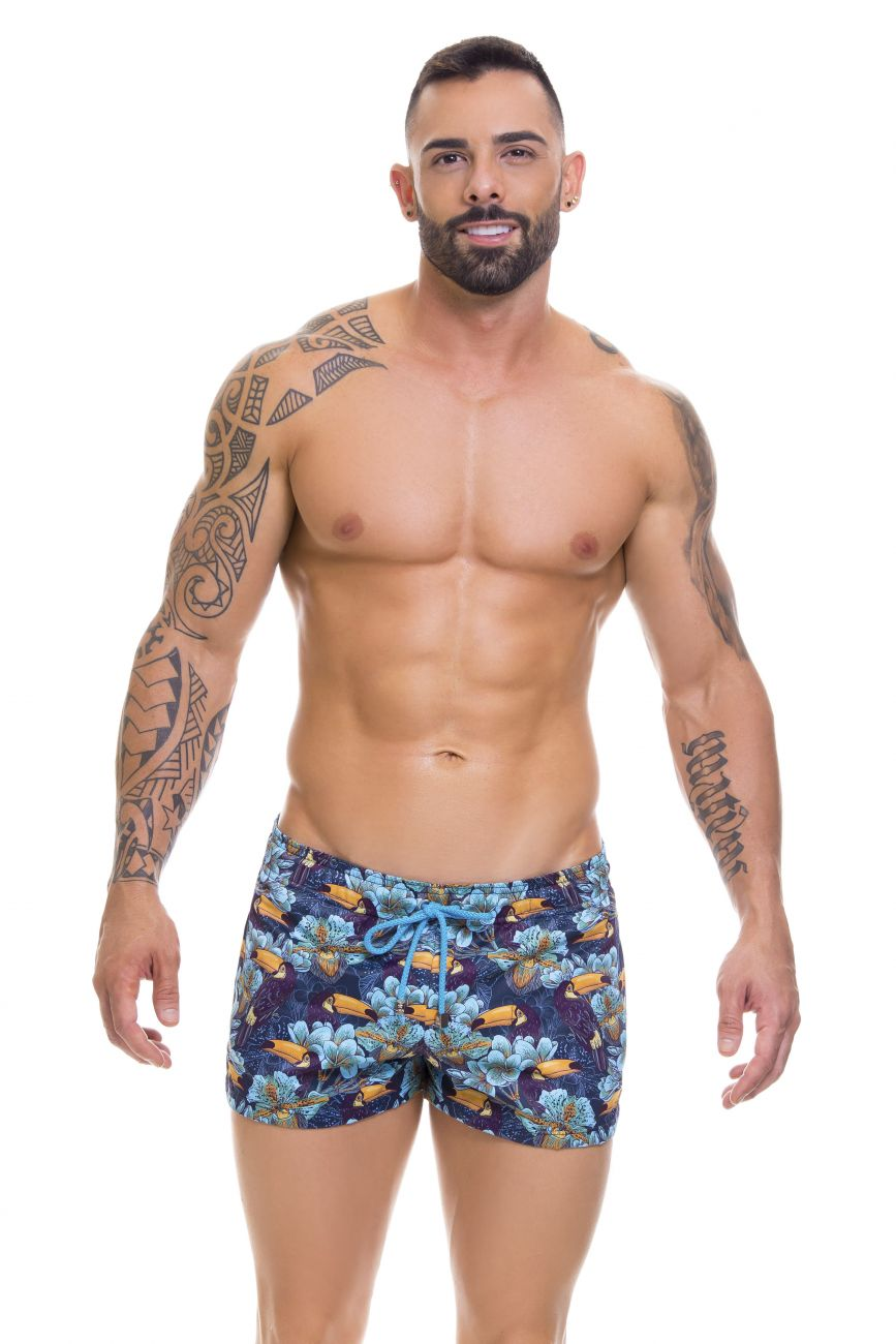 Male underwear model wearing Arrecife 0669 Tropical Swim Trunks available at www.MensUnderwear.io