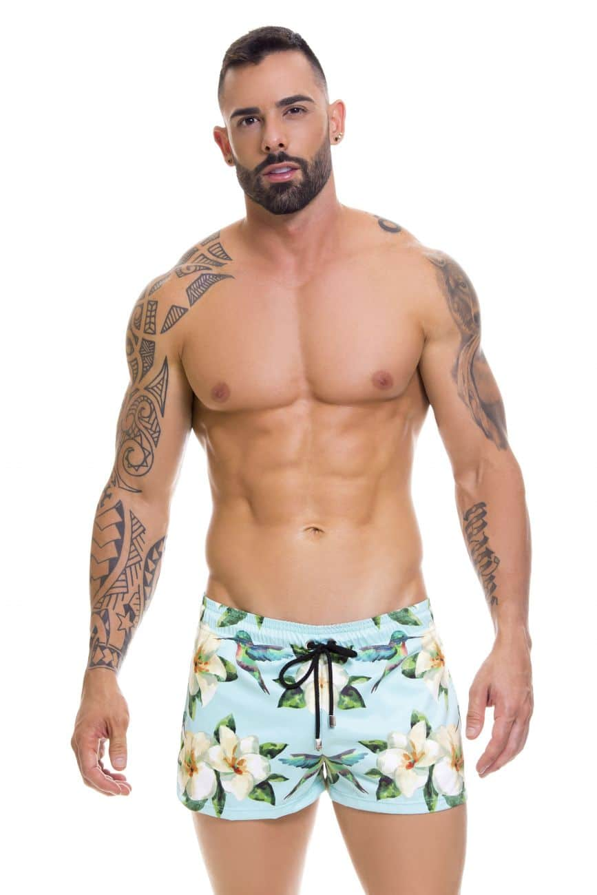 Male underwear model wearing Arrecife 0671 Bali Swim Trunks available at www.MensUnderwear.io