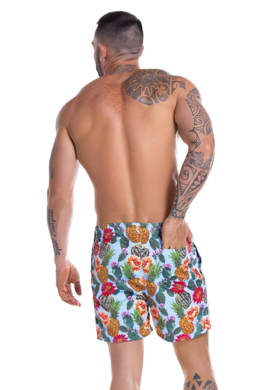 Male underwear model wearing Arrecife 0907 Cactus Swim Trunks available at www.MensUnderwear.io