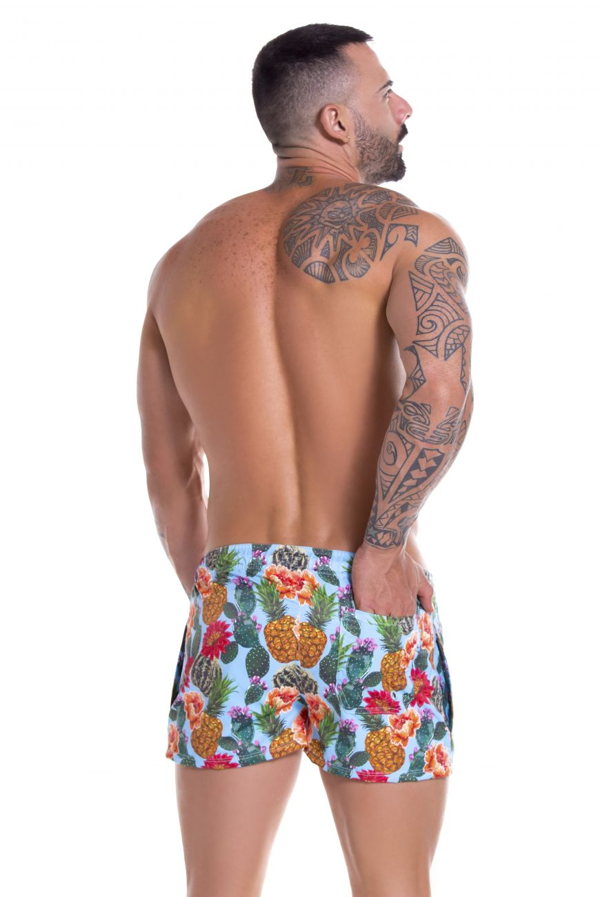 Male underwear model wearing Arrecife 0908 Cactus Swim Trunks available at www.MensUnderwear.io