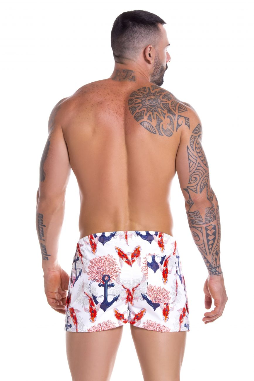 Male underwear model wearing Arrecife 0910 Calipso Swim Trunks available at www.MensUnderwear.io