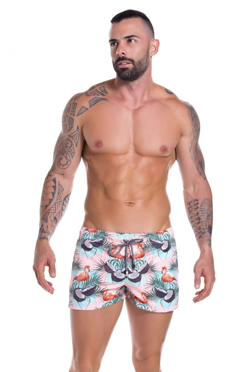 Male underwear model wearing Arrecife 0912 Bahia Swim Trunks available at www.MensUnderwear.io