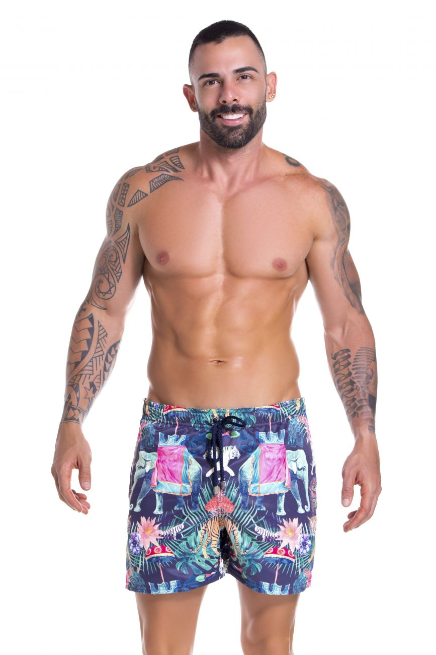 Male underwear model wearing Arrecife 0913 Elephant Swim Trunks available at www.MensUnderwear.io