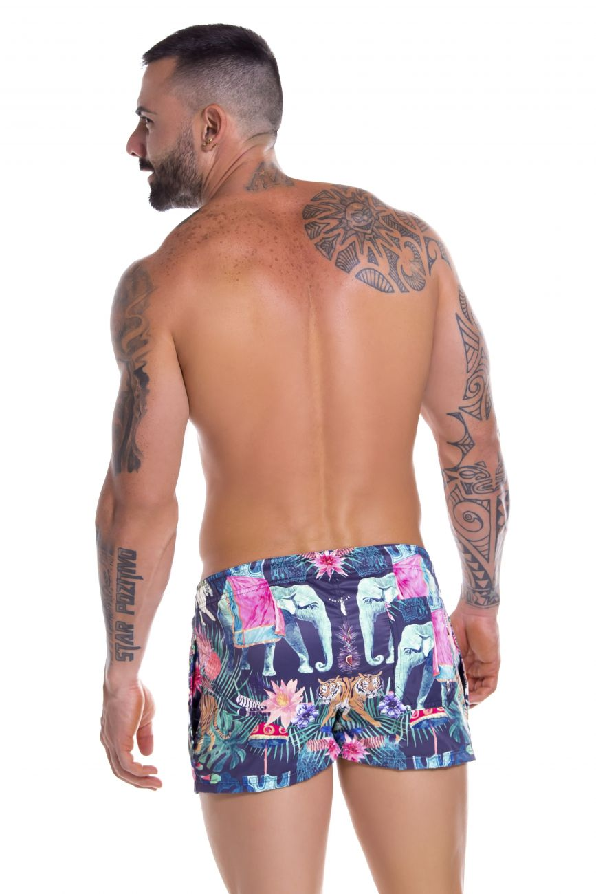Male underwear model wearing Arrecife 0914 Elephant Swim Trunks available at www.MensUnderwear.io