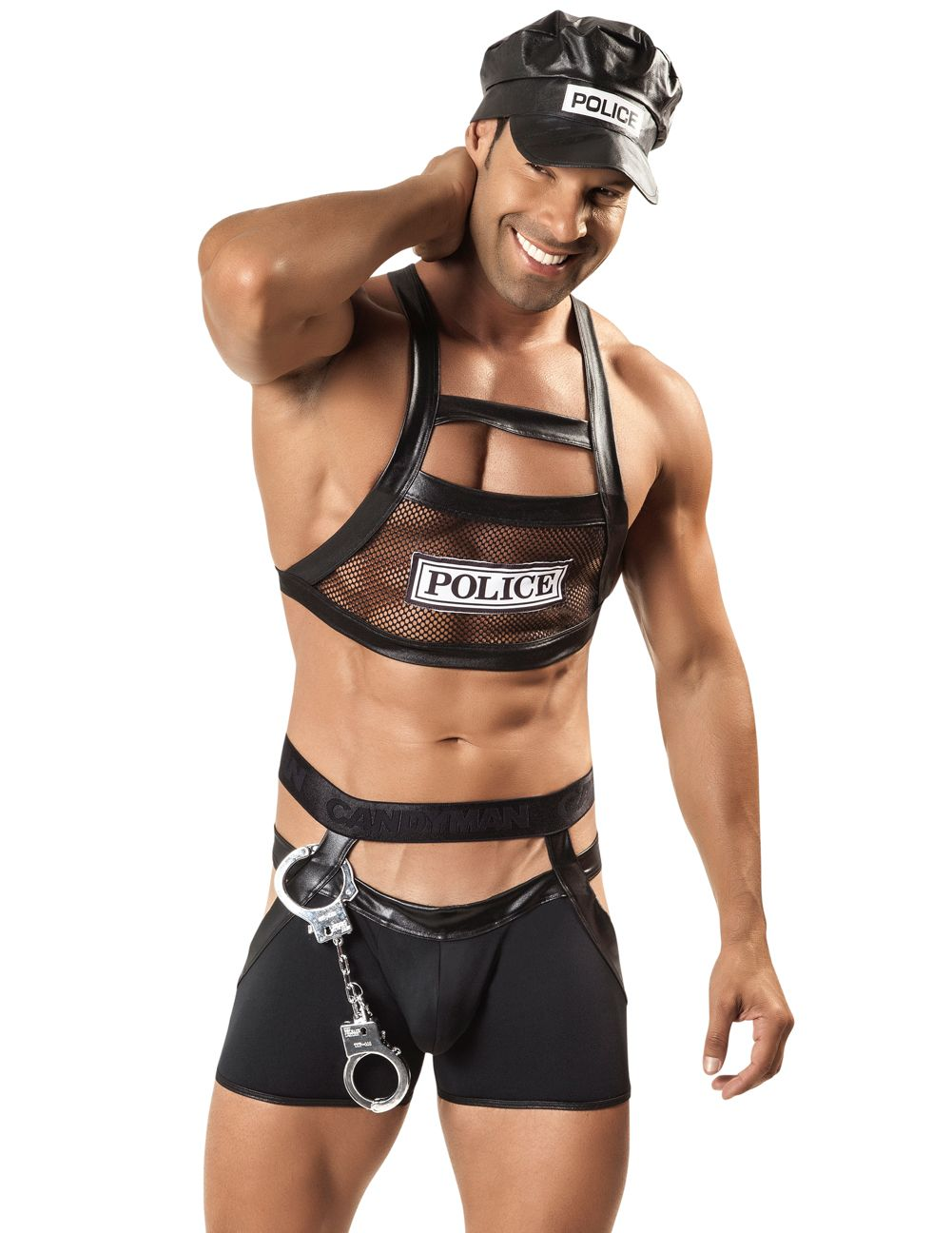 Male underwear model wearing CandyMan 99152 Police Outfit available at www.MensUnderwear.io
