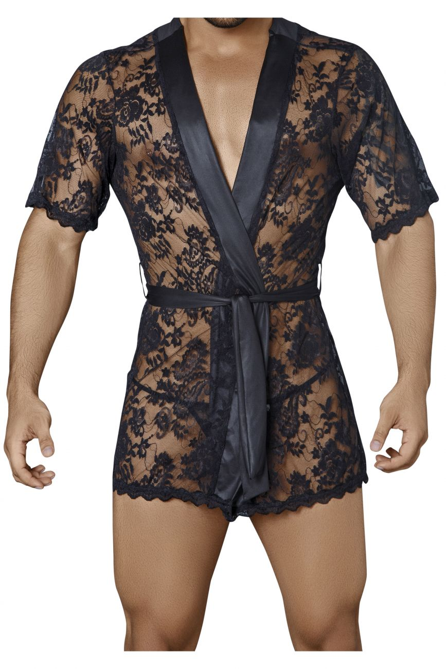 Male underwear model wearing CandyMan 99322 Lace Kimono with Thong available at www.MensUnderwear.io
