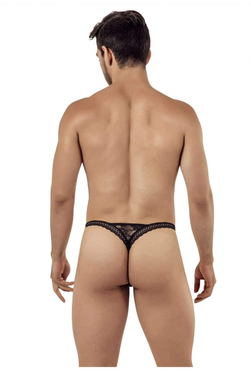 Male underwear model wearing CandyMan 99420 Double Lace Thongs available at www.MensUnderwear.io