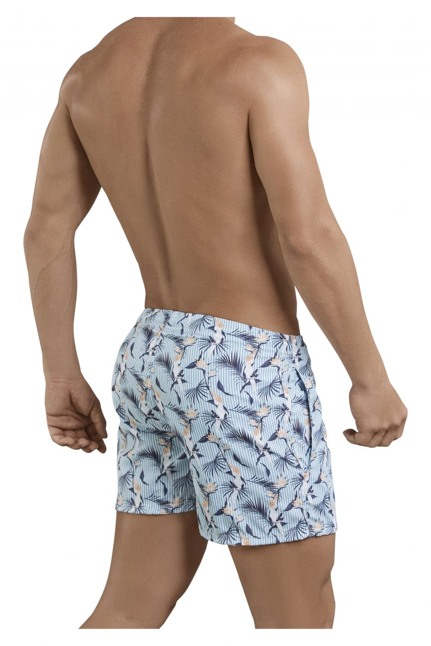 Male underwear model wearing Clever 0683 Cockatoos Atleta Swim Trunks available at www.MensUnderwear.io