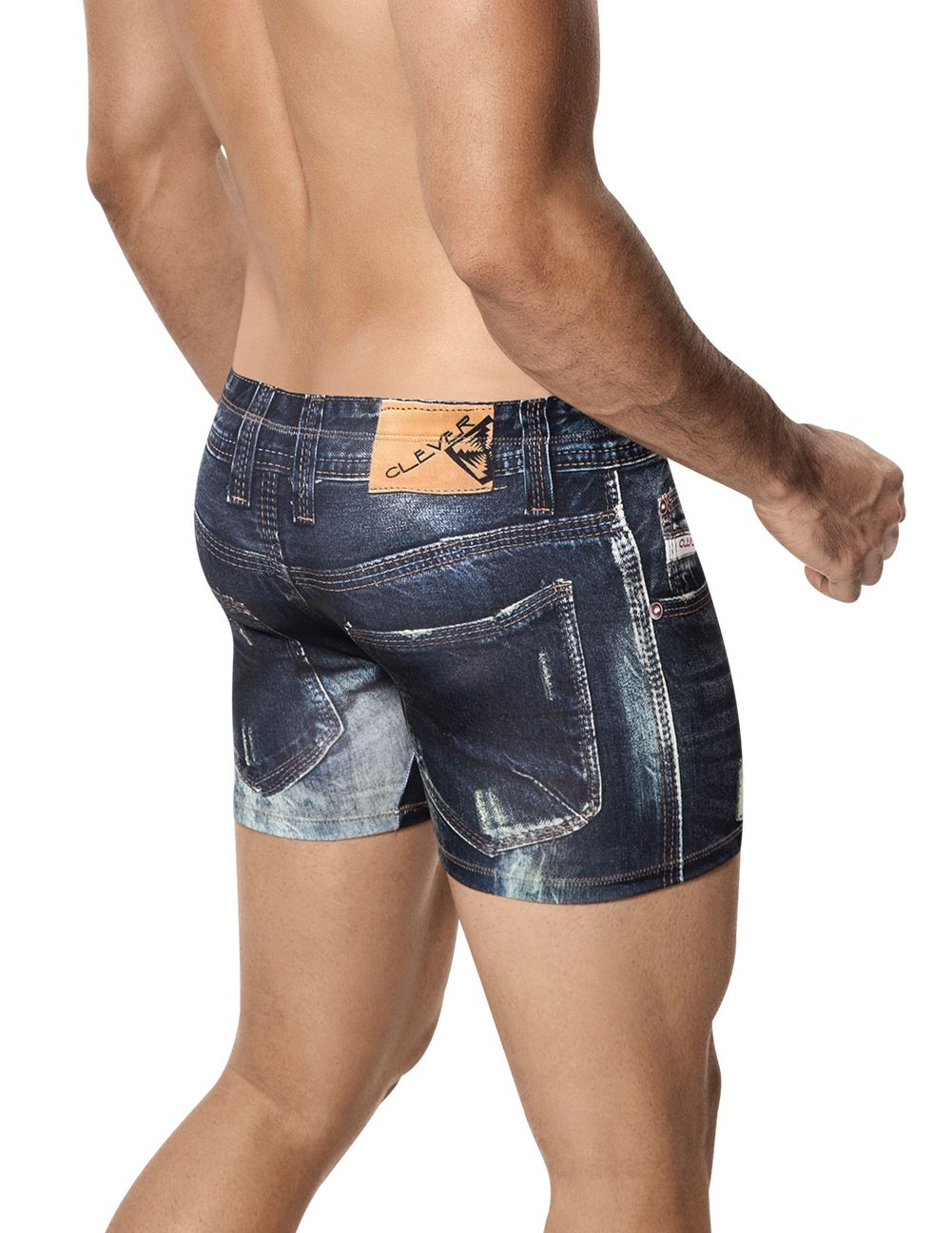 Male underwear model wearing Clever 2201 Denim Jean Boxer available at www.MensUnderwear.io