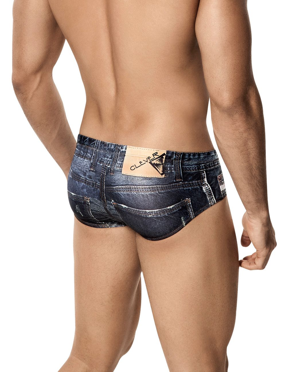 Male underwear model wearing Clever 5201 Denim Jean Latin Brief available at www.MensUnderwear.io