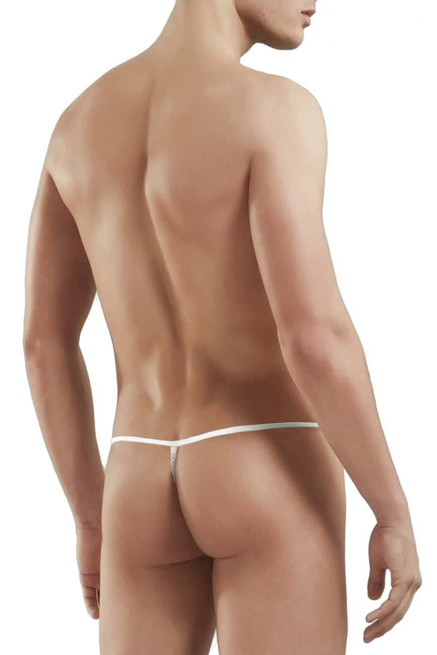 Male underwear model wearing Doreanse 1326-SLV Flashy G-String available at MensUnderwear.io.