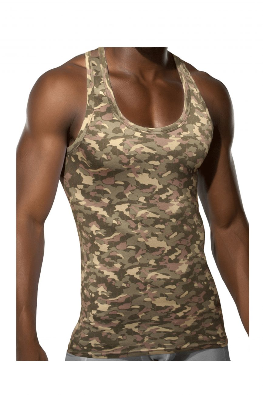 Male underwear model wearing Doreanse 2215-PRN Camo Racer-back Tank available at MensUnderwear.io.