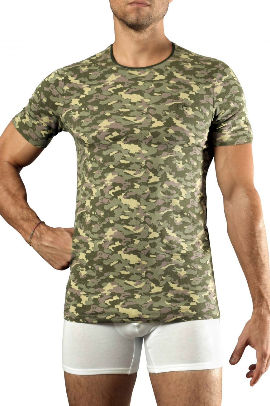Male underwear model wearing Doreanse 2560-PRN Camouflage T-Shirt available at MensUnderwear.io.