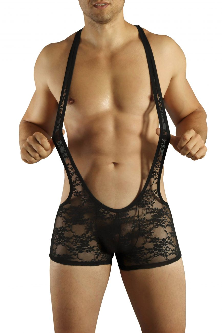 Male underwear model wearing Doreanse 3011-BLK Lace Wrestler Suit available at MensUnderwear.io.