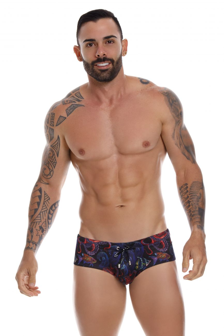 Male underwear model wearing JOR 1033 Octupus Swim Briefs available at www.MensUnderwear.io