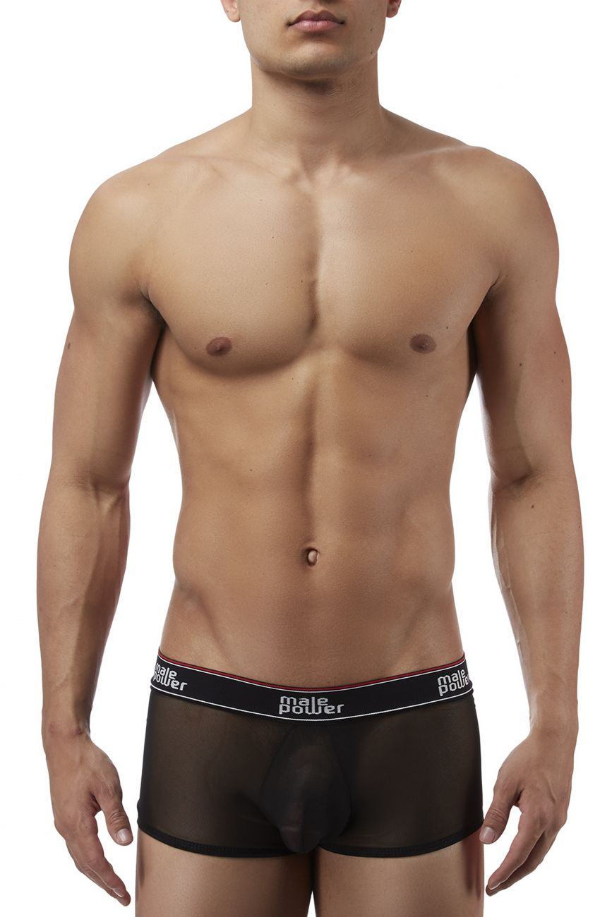 Male underwear model wearing Male Power 145056 Branded Mesh Pouch Boxer Briefs available at www.MensUnderwear.io