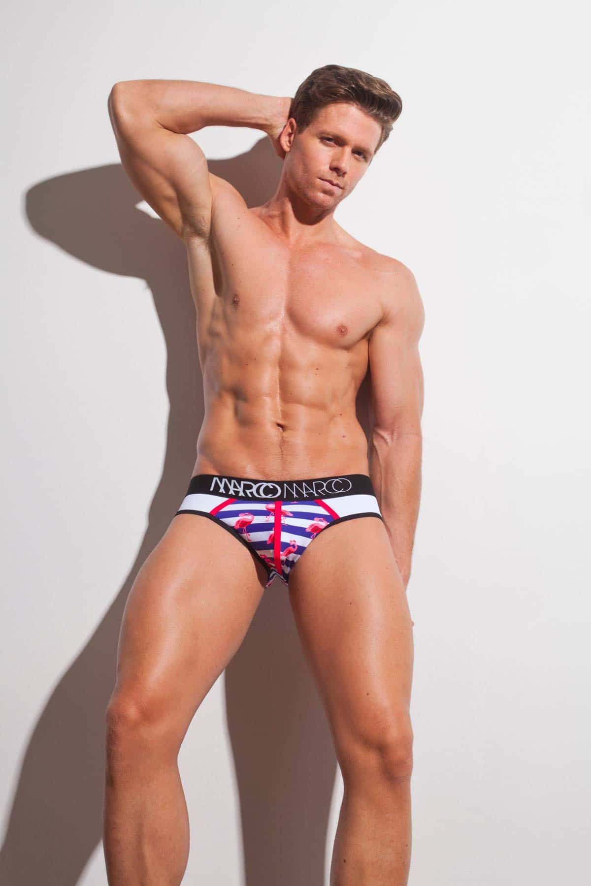 Male underwear model wearing Marco Marco Half-Moon Nautical Brief available at www.MensUnderwear.io