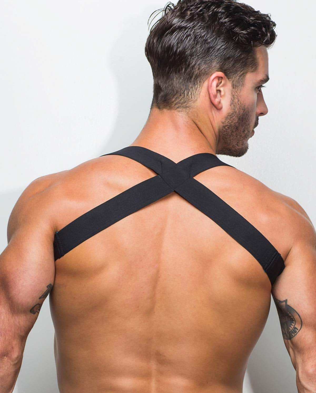 Male model wearing Marco Marco Logo Harness