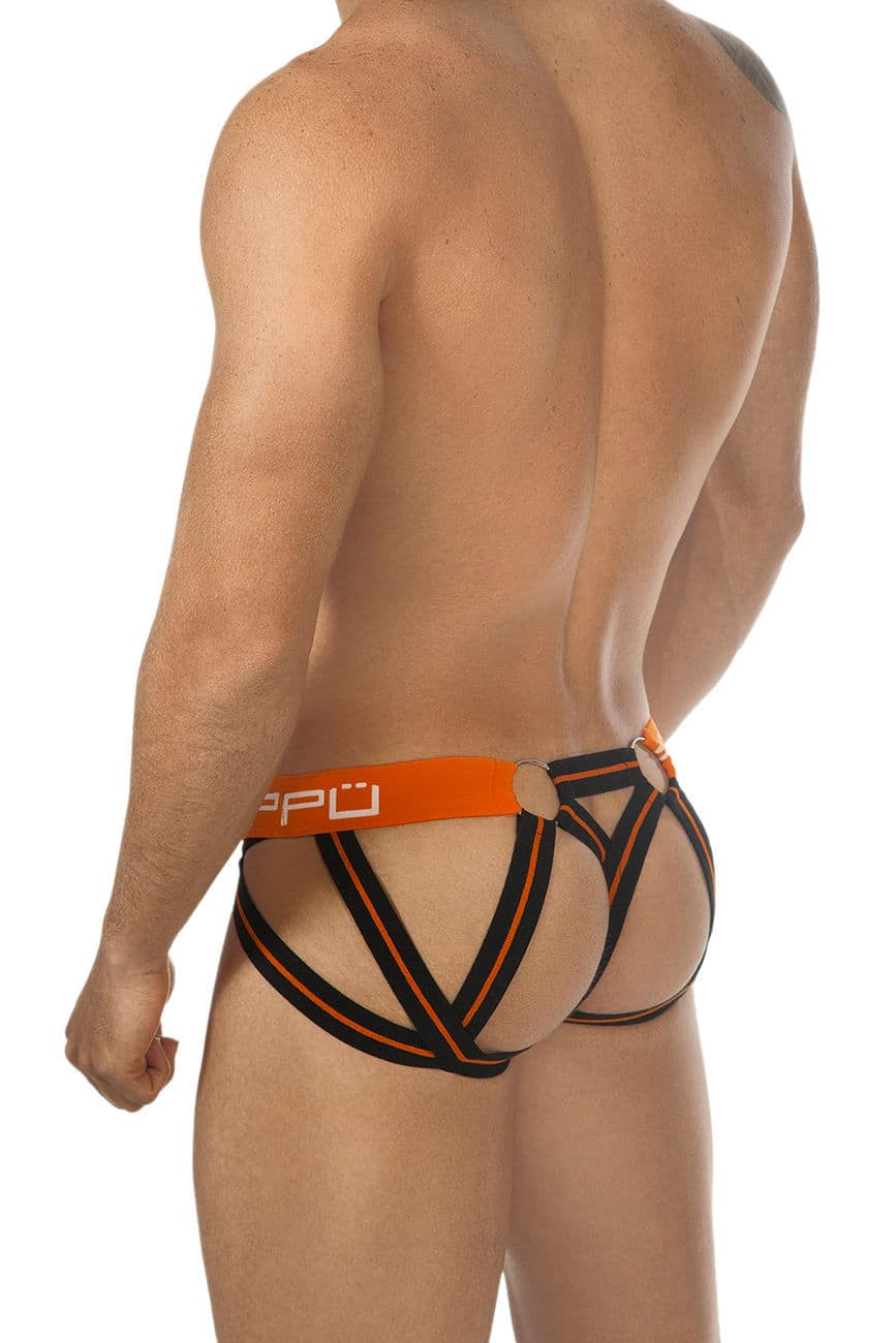 Male underwear model wearing PPU 1305 Multi-Strap Jockstrap available at www.MensUnderwear.io