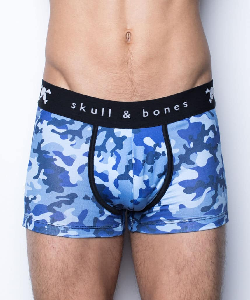 Male model wearing Skull & Bones Night Camo men's underwear available at MensUnderwear.io