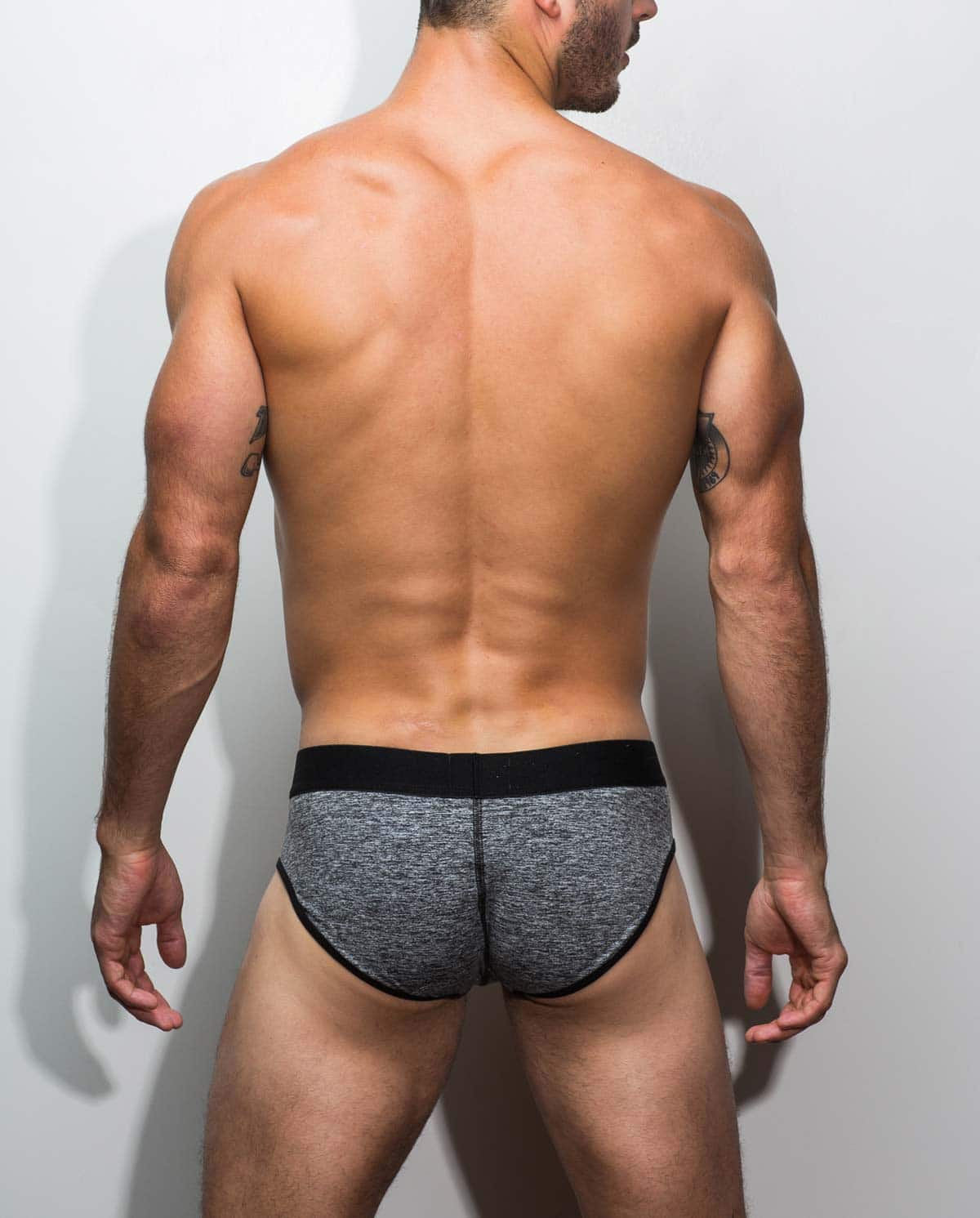 Male underwear model wearing Marco Marco Gray All Over Men's Brief - Front