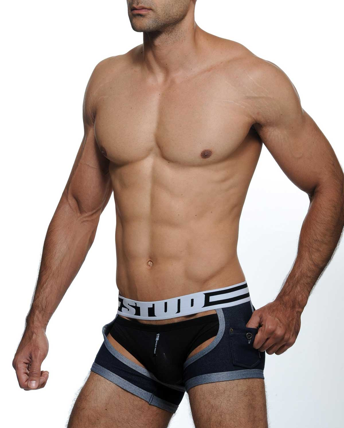 Male model wearing STUD Underwear Joust Trunks available at MensUnderwear.io
