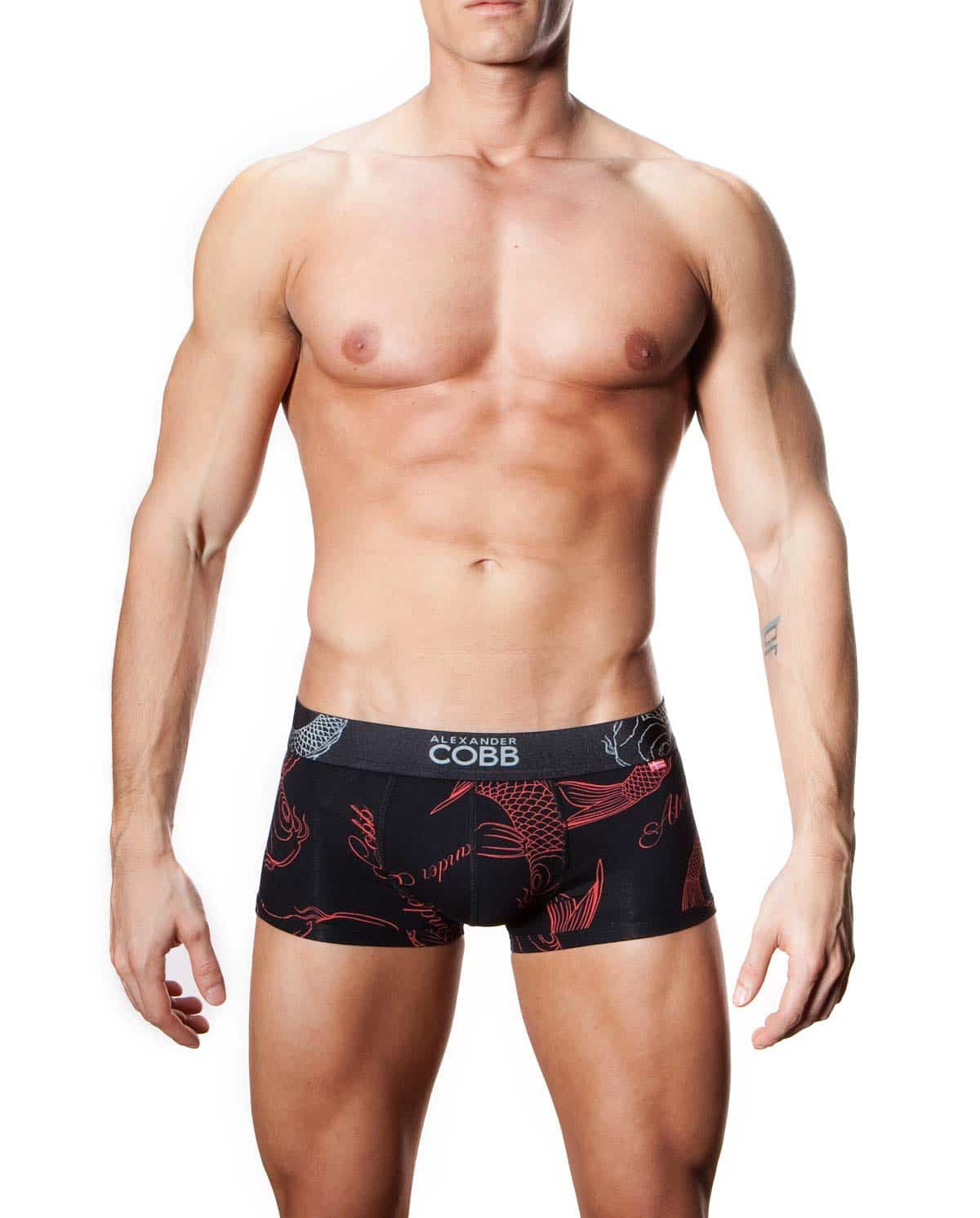 Male underwear model wearing Alexander COBB Men's Koi Trunk