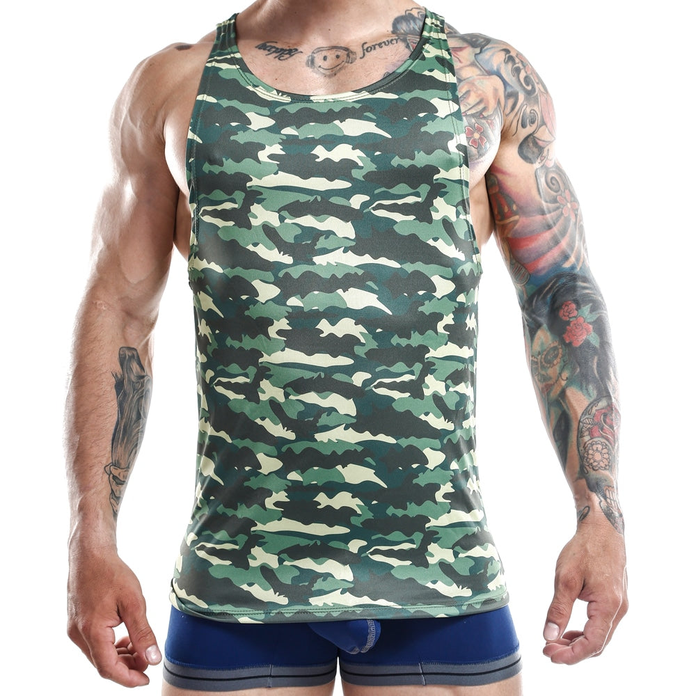 Male model wearing Jocko Tank Military Green. Shop now at www.MensUnderwear.io.