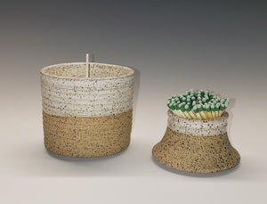 Candle and match holder set