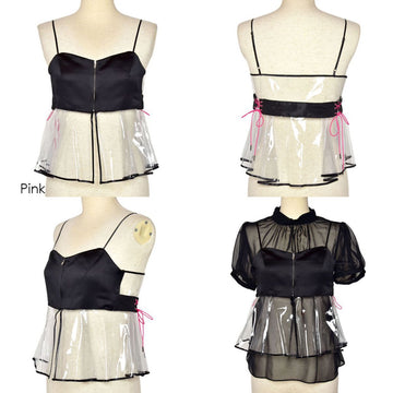 PVC×Satin Camisole By 6-D